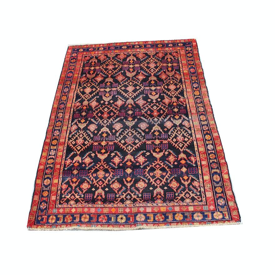 Hand Knotted Persian Hamadan Wool Area Rug Ebth: Hand-Knotted Persian Lilihan Sarouk Area Rug