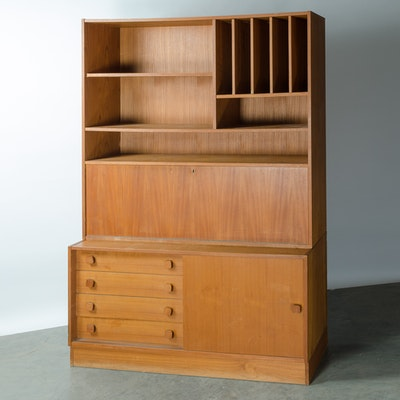 Danish Modern Two Piece Wood Display/Storage Unit