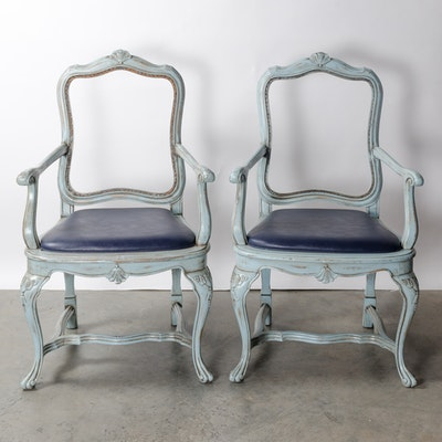 Pair of Blue Distress Painted Armchairs