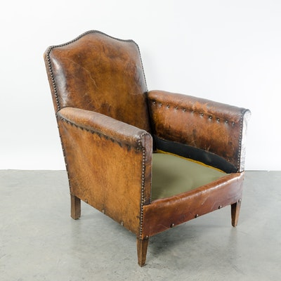 Leather Club Chair French circa 1910