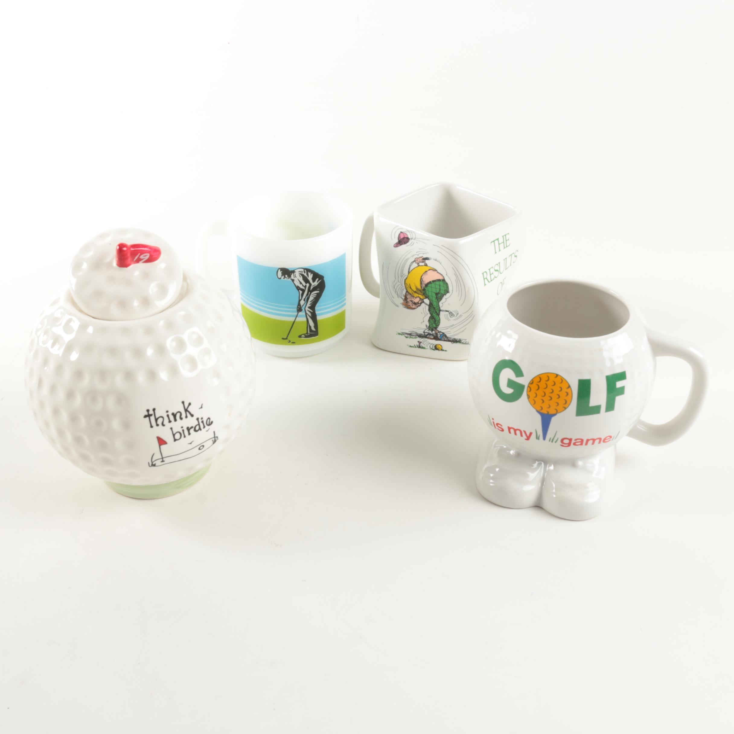 Golf Themed Mugs and Jar