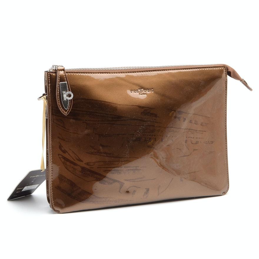 e0a2cd856d Frederic T of Paris Bronze Patent Leather Clutch Shoulder Bag   EBTH