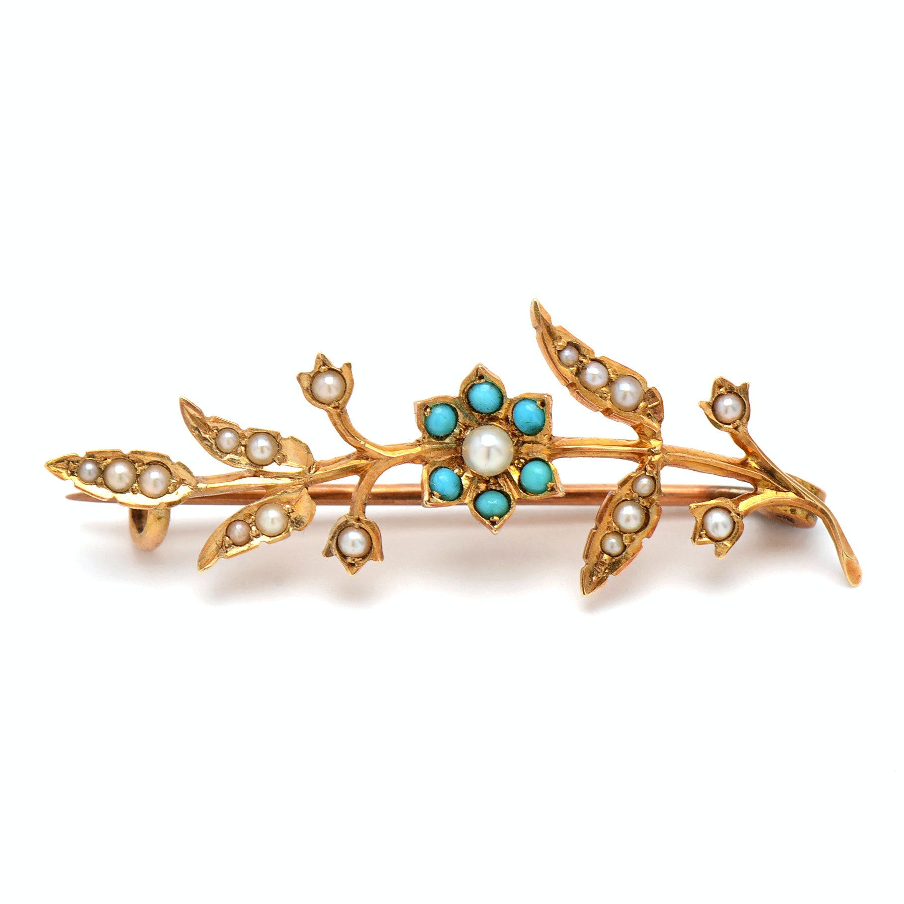 Victorian 15K Yellow Gold Seed Pearl And Turquoise Branch Brooch