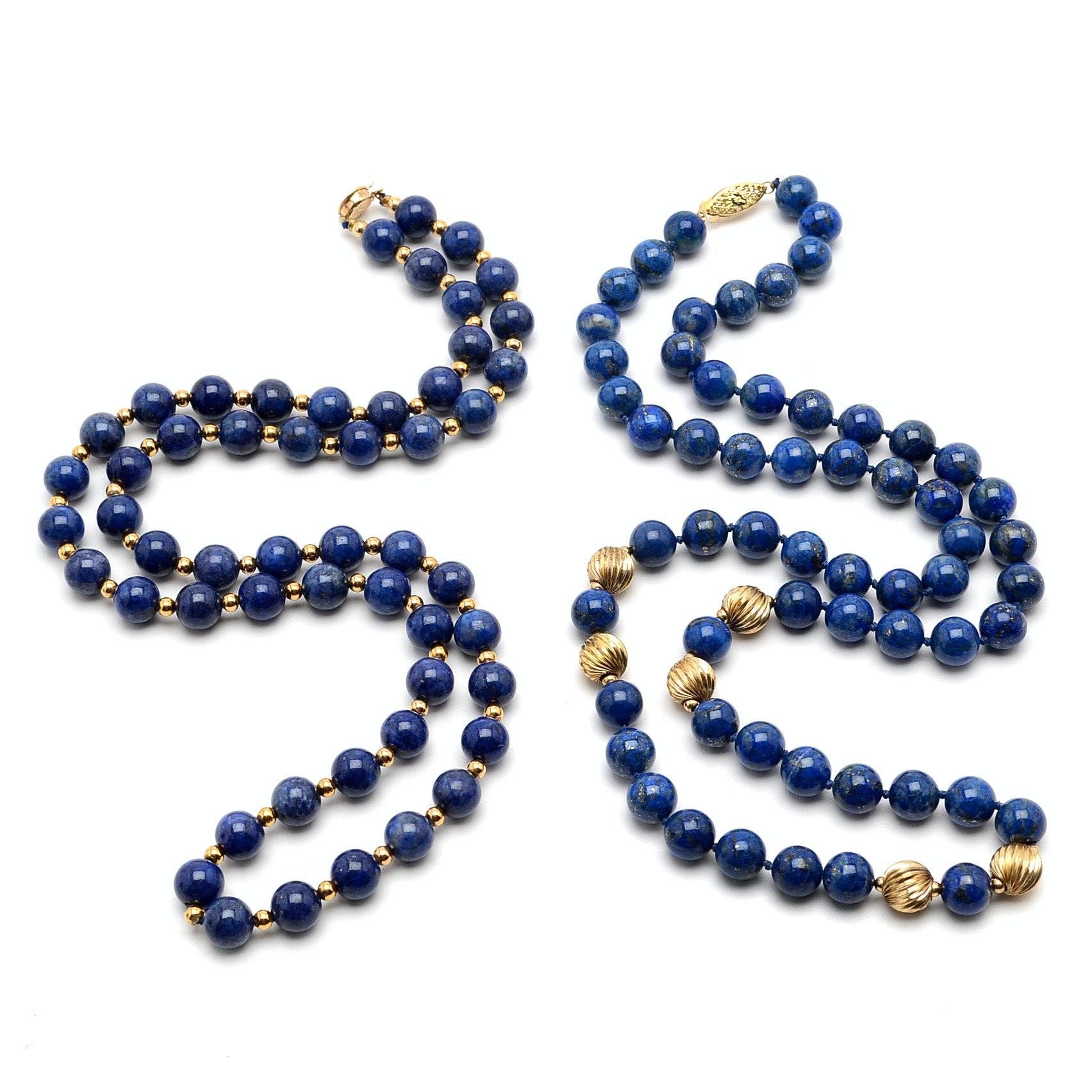 Two Lapis Lazuli Beaded Necklaces