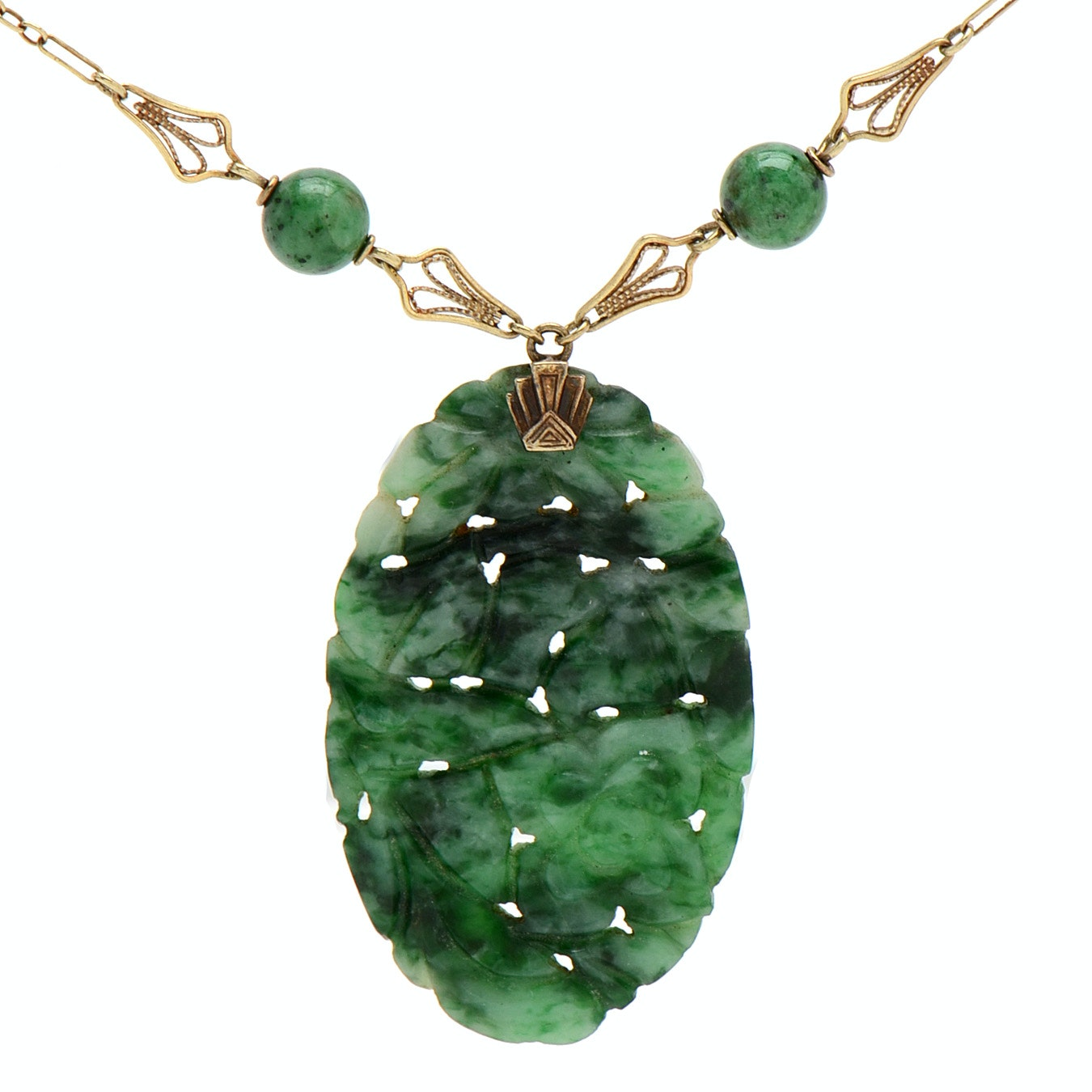Vintage 14K Yellow Gold and Carved Jadeite Necklace