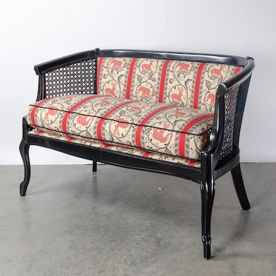 Regency Style Black Lacquer Upholstered Settee