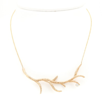 14K Yellow Gold Diamond Branch Necklace