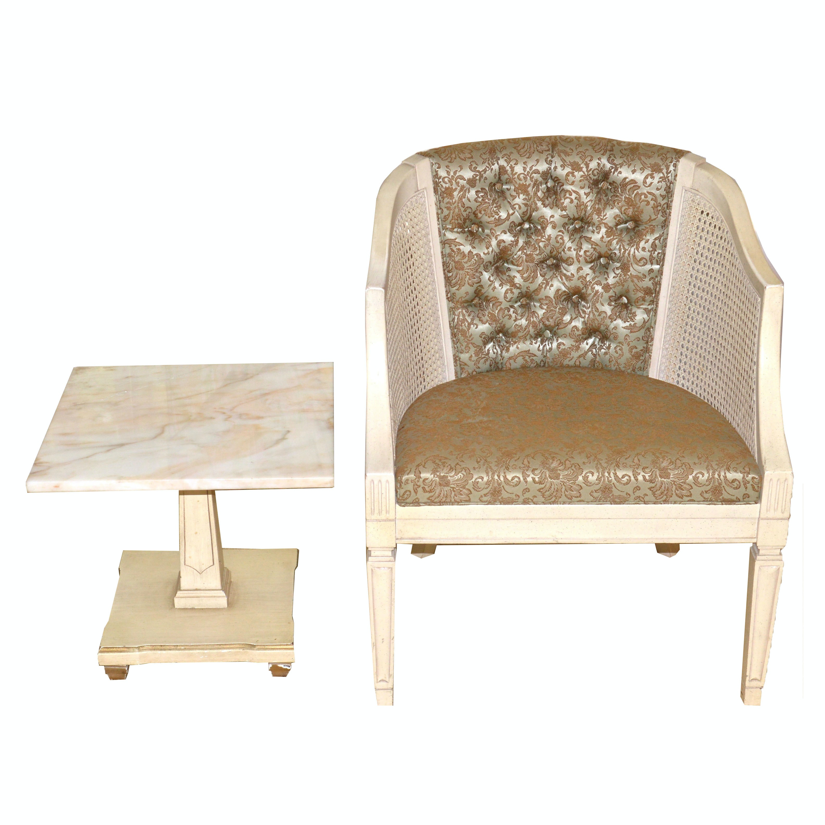 Button Tufted and Cane Accent Chair and Marble Side Table