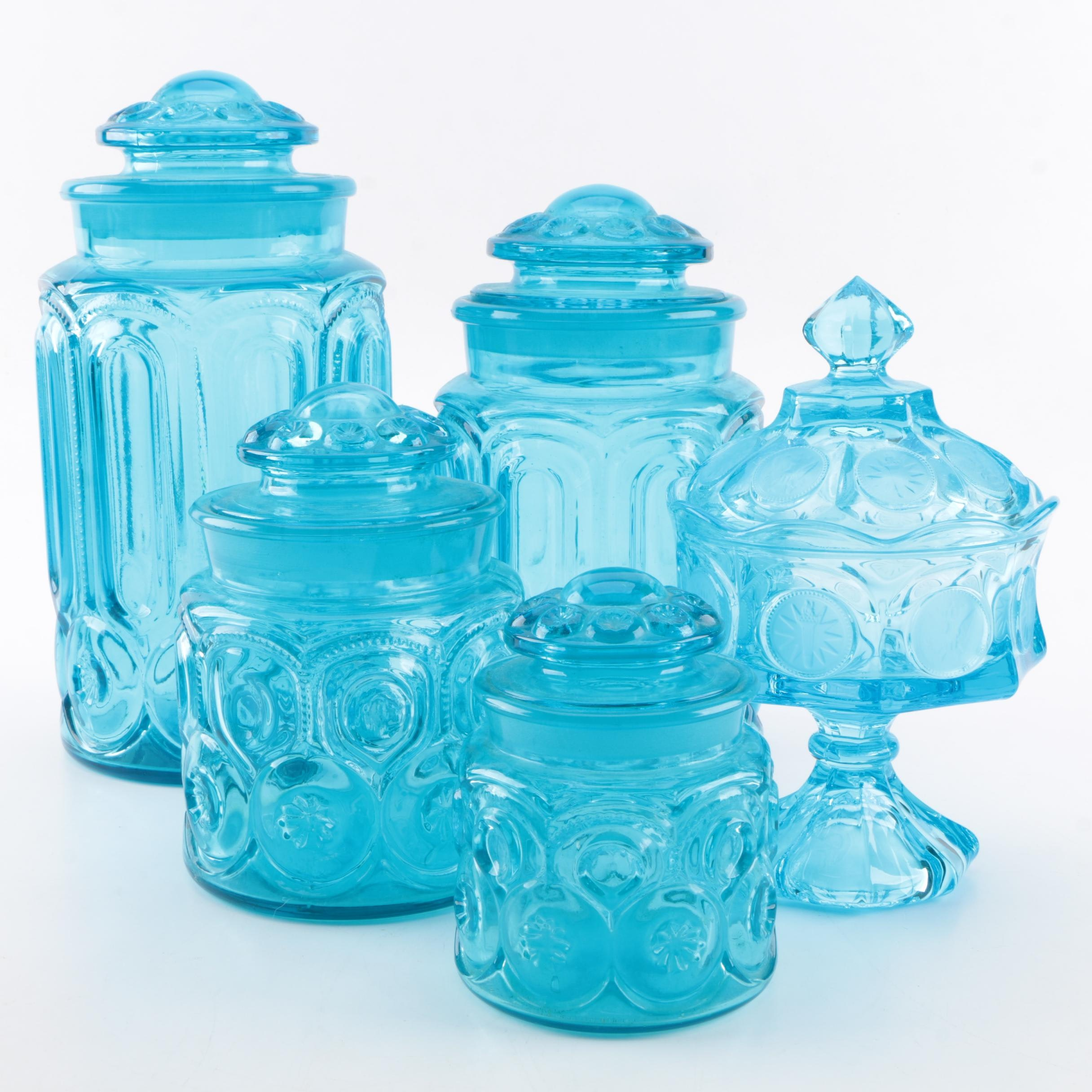 "Vintage Pressed Glass Lidded Storage Jars including ""Moon and Stars"""