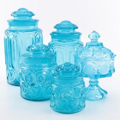 "Vintage Pressed Glass Lidded Storage Jars including ""Moon and Stars"""