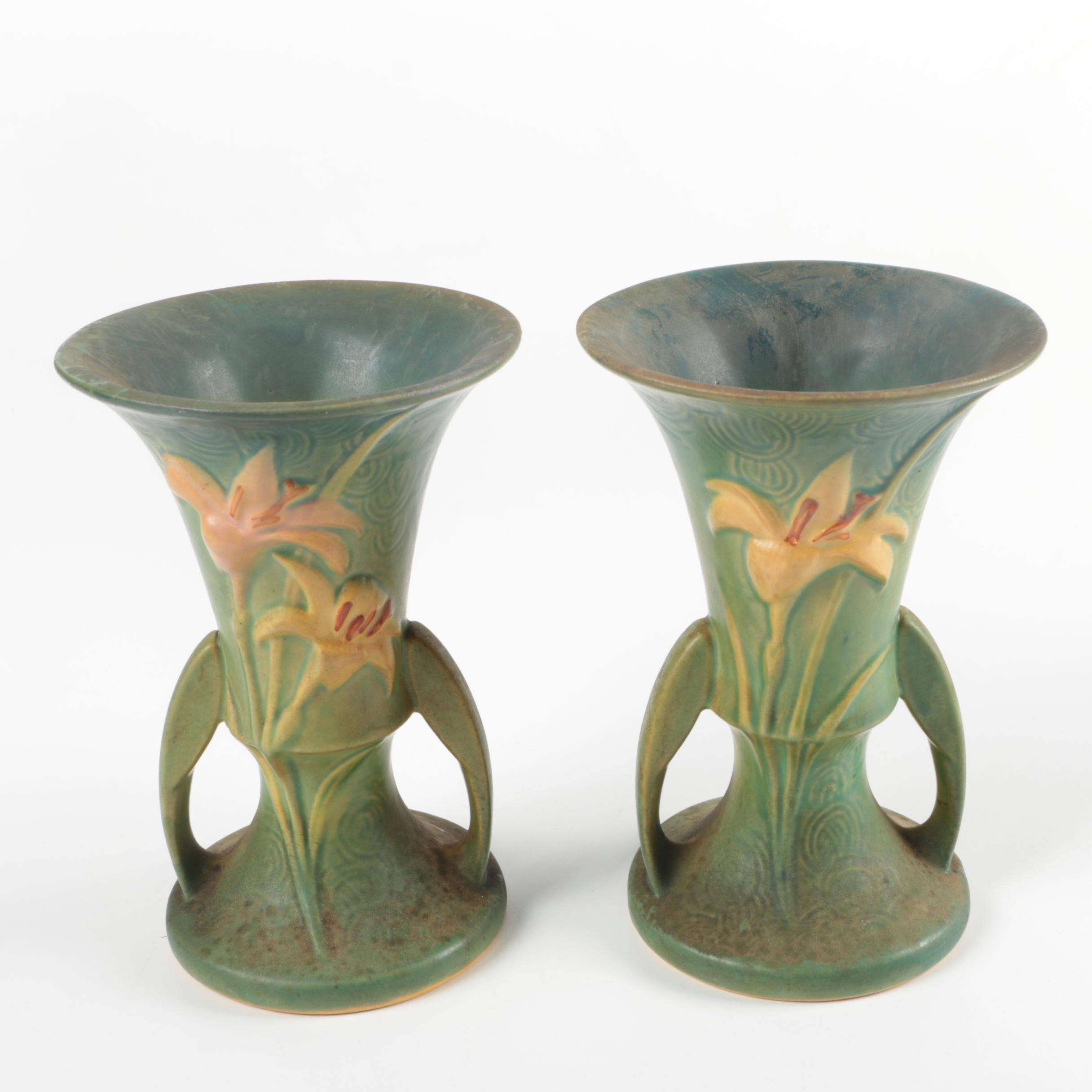 """Pair of Roseville Pottery """"Zephyr Lily"""" Vases"""