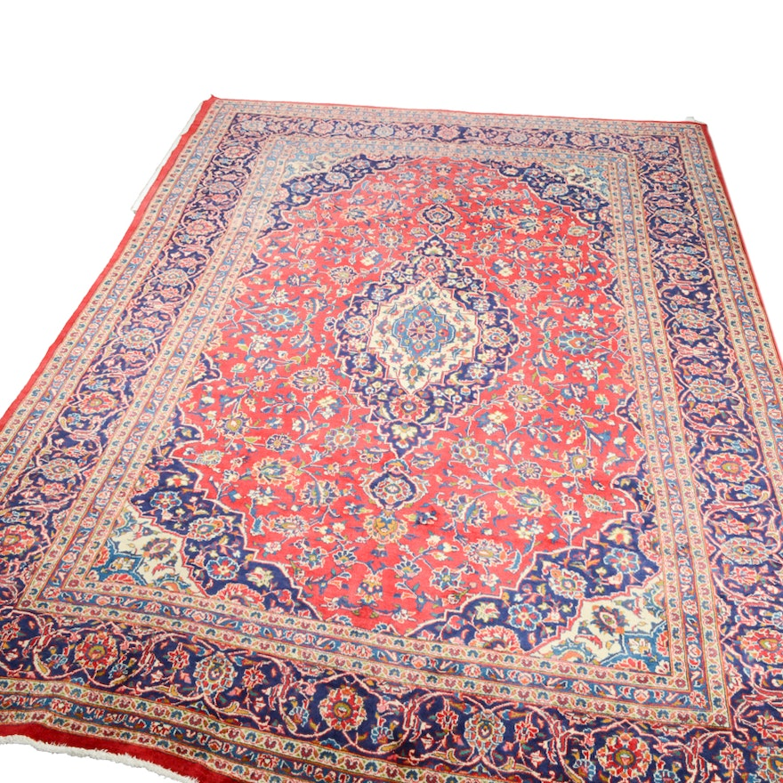 Hand Knotted Persian Wool Area Rug Ebth: Hand-Knotted Persian Mashhad Wool Area Rug : EBTH