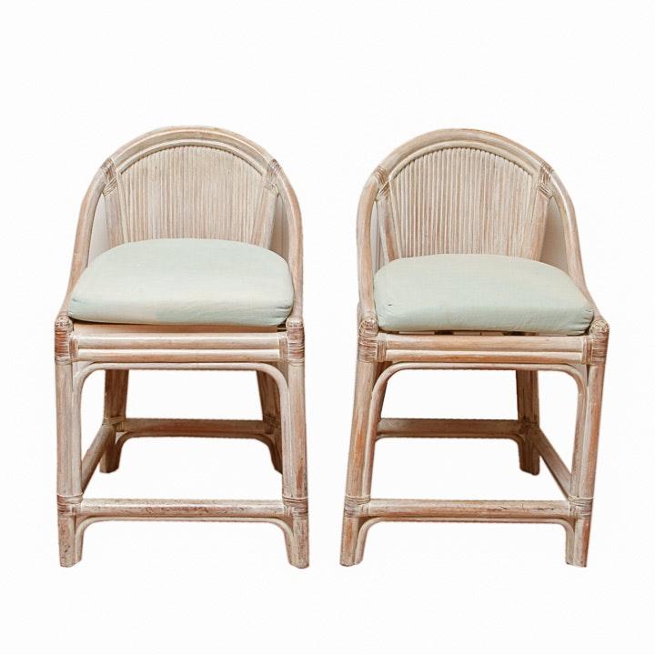 White Wash Rattan Chairs
