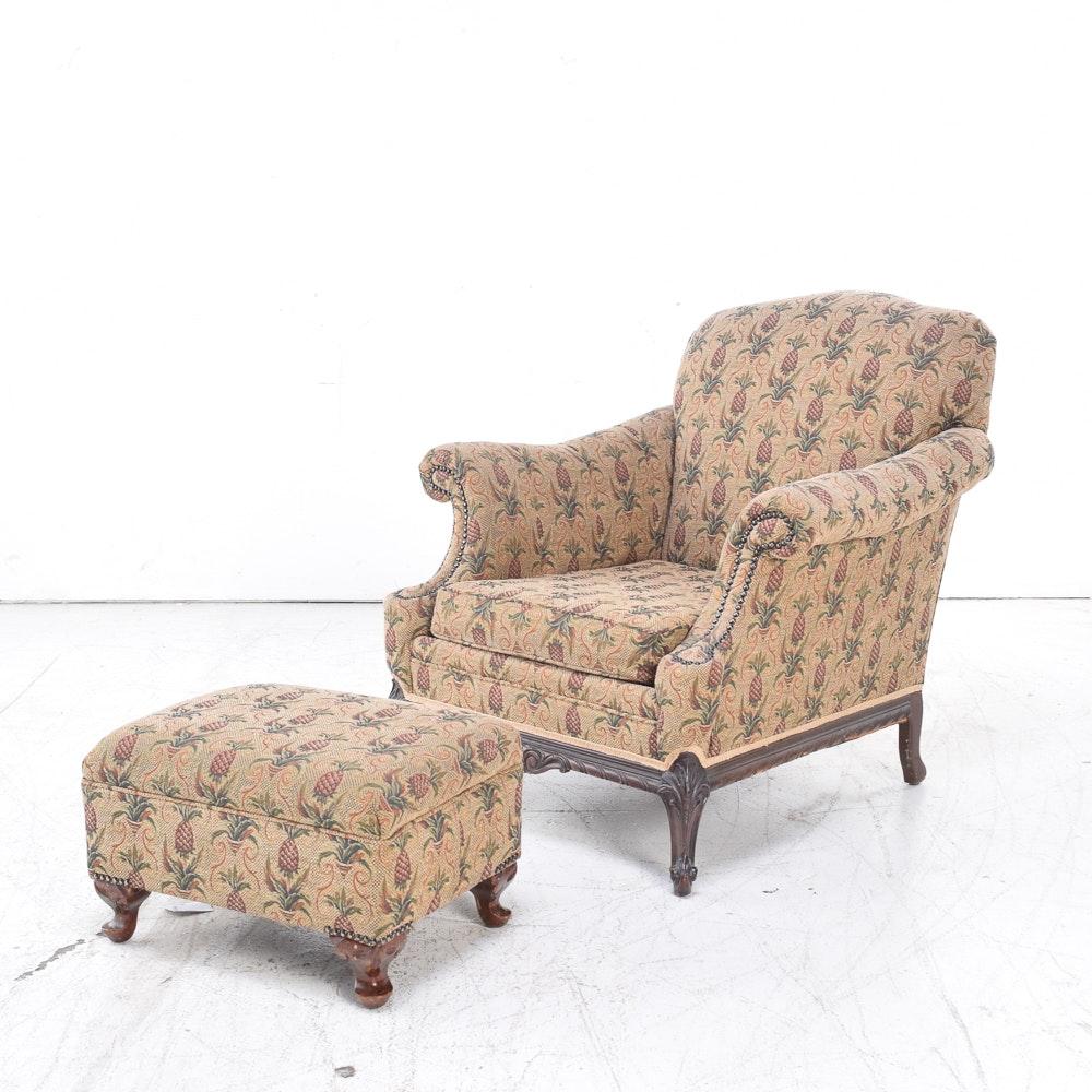 Pineapple Motif Club Chair and Ottoman