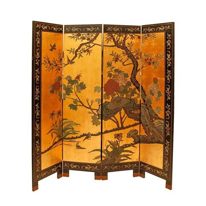 Asian Painted Reversible Screen