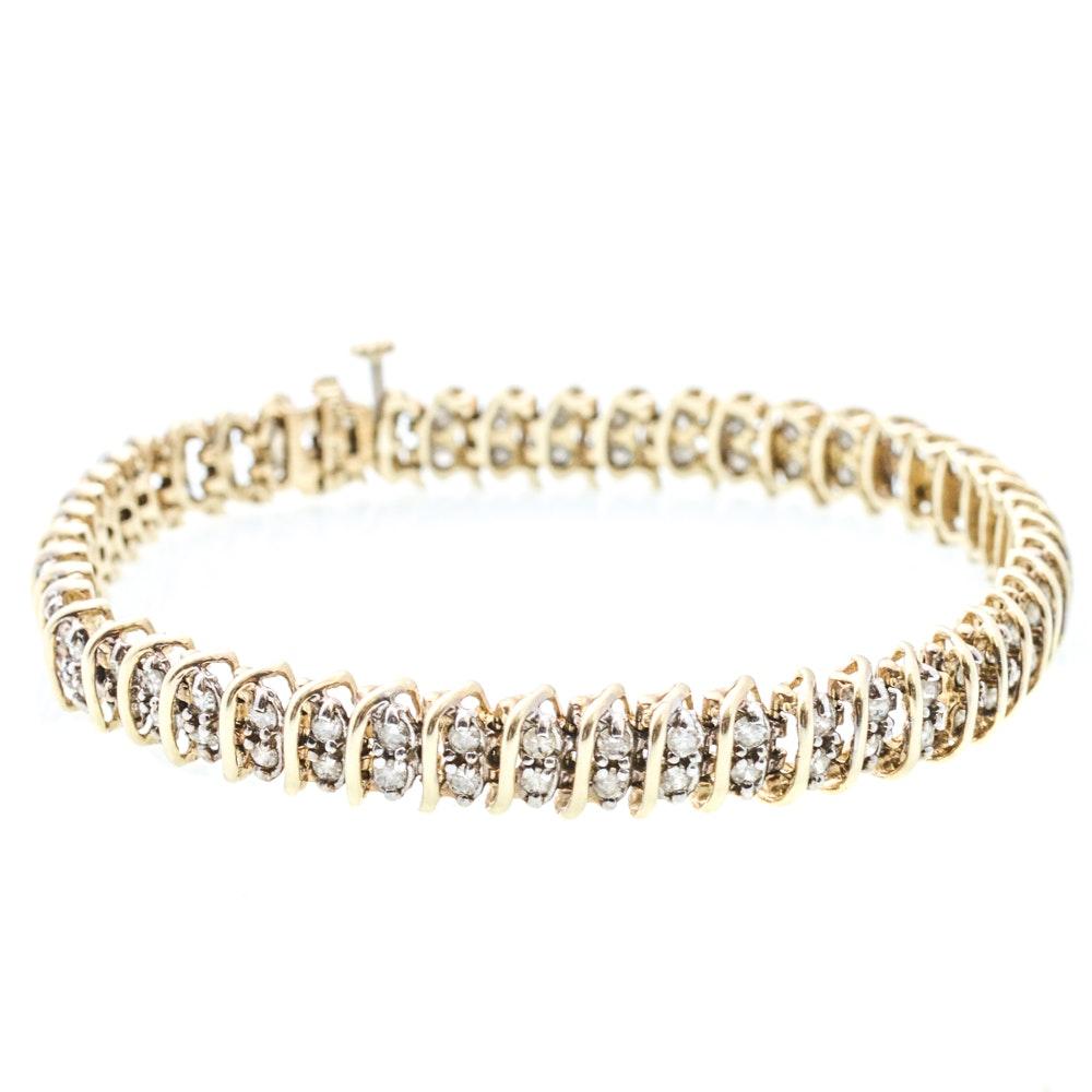 10K Yellow Gold 2.00 CTW Diamond Tennis Bracelet