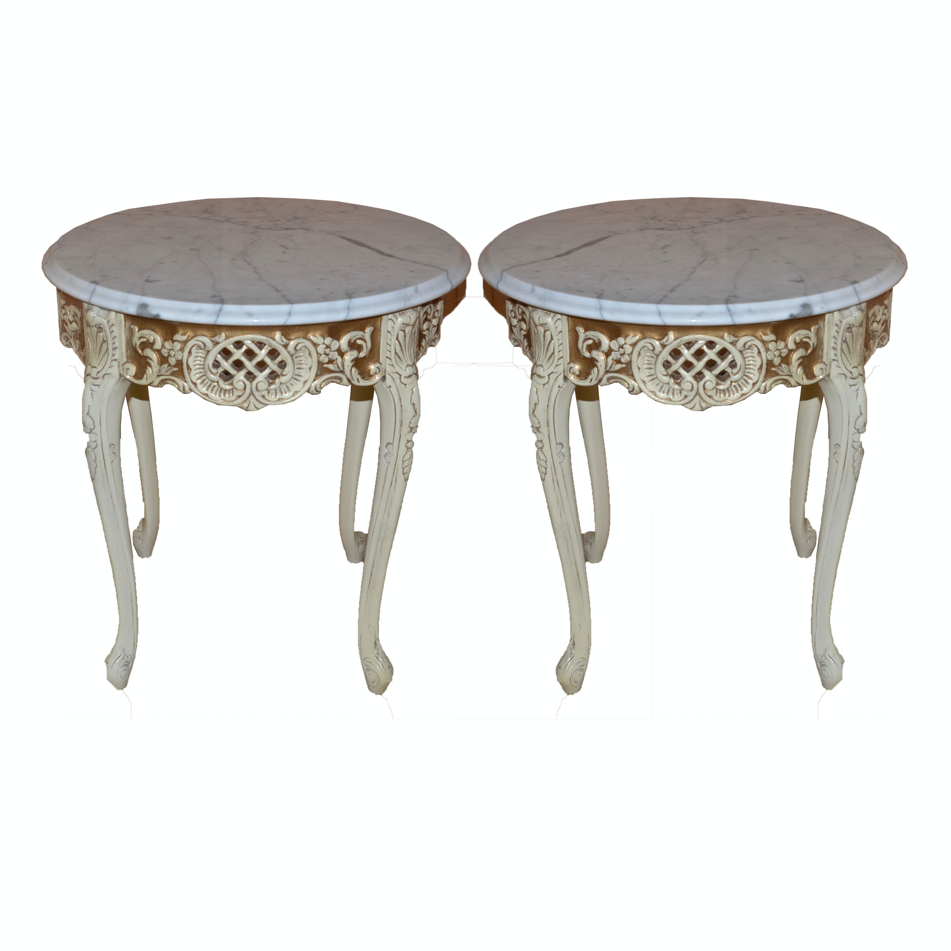 French Provincial Style Marble Side Tables