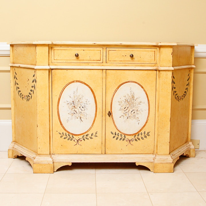 Hand Painted Three Sided Wood Cabinet