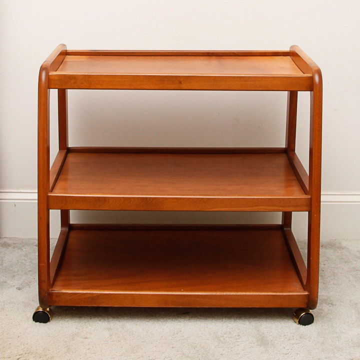 Wooden Shelving Unit on Caster Wheels