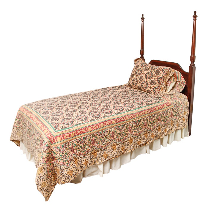 Federal Style  Mahogany Twin-Size Headboard and Metal Mattress Frame