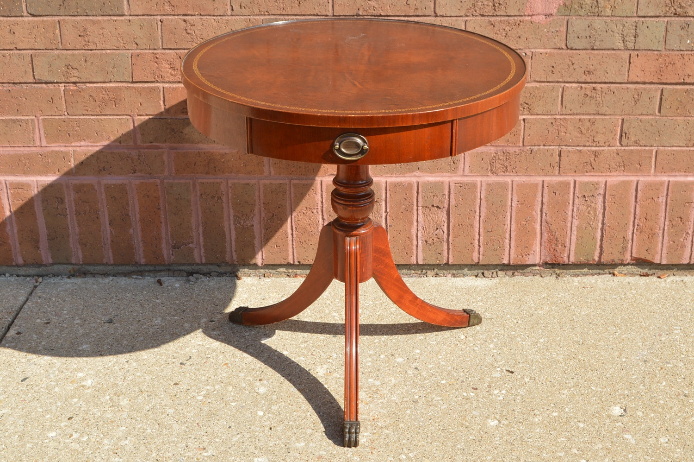 Vintage Pedestal Drum Style Table