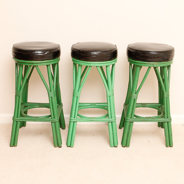 Three Green Wooden Stools With Brown Padded Seats Ebth