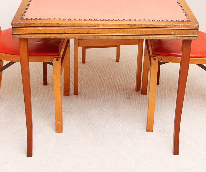 mid century folding table and four leaf carved side
