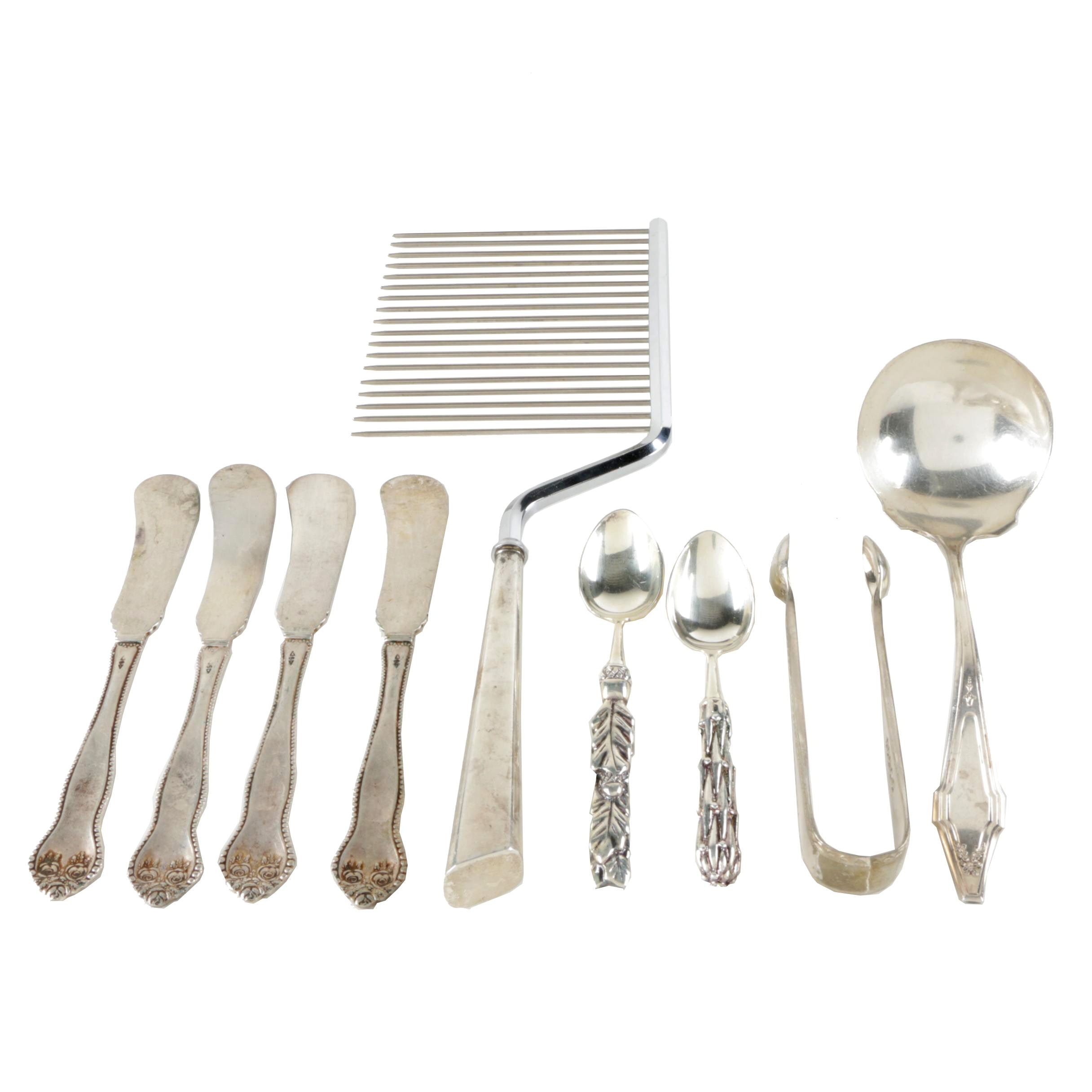 Holmes & Edwards Plated Silver Ladle with Additional Kitchen Items and Flatware
