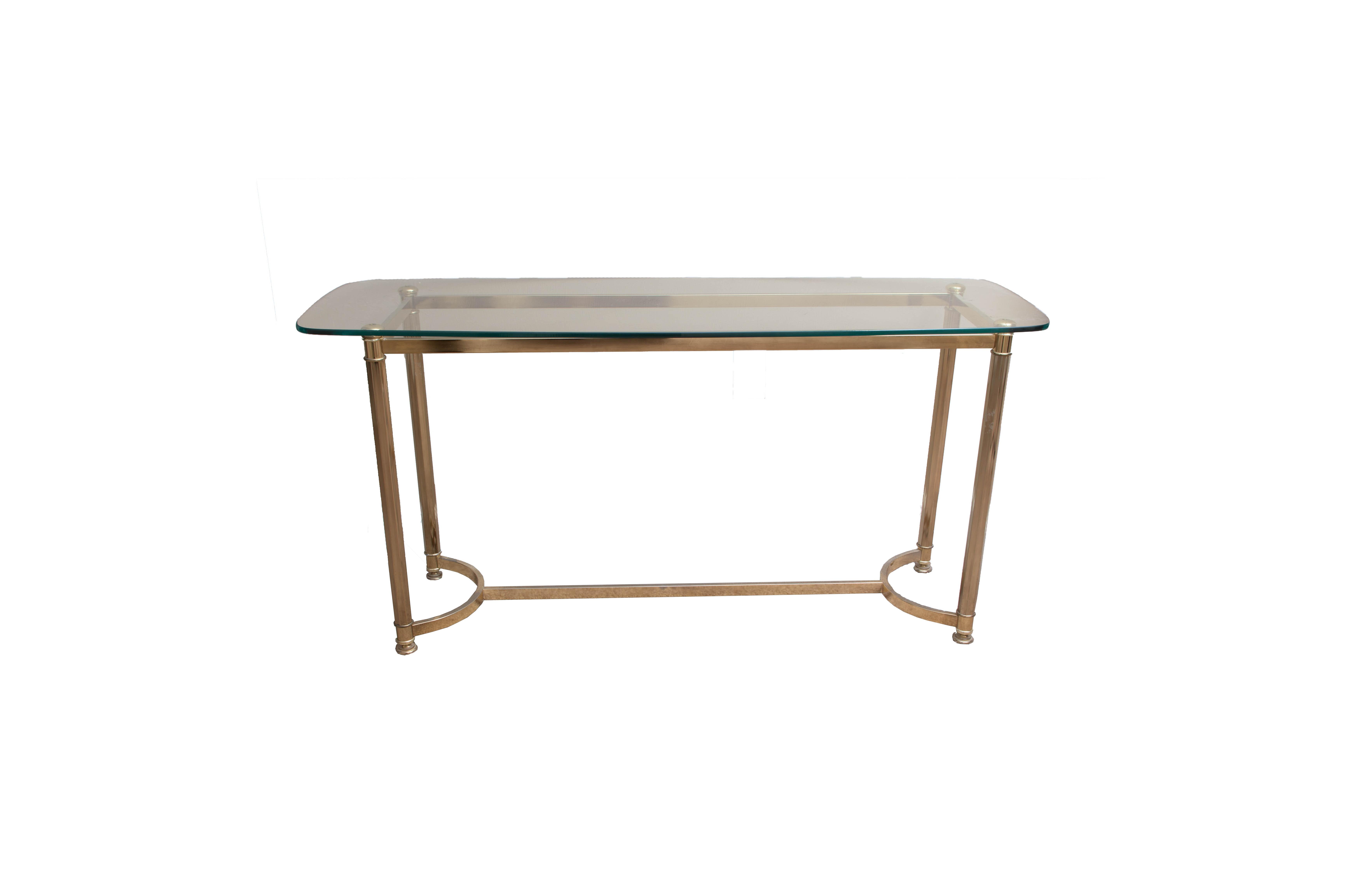 Glass And Brass Sofa Table Ebth