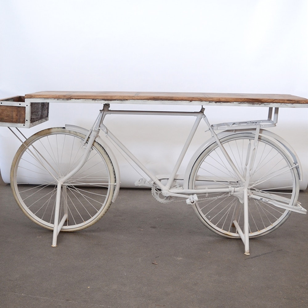 Reclaimed Wood and Bicycle Table