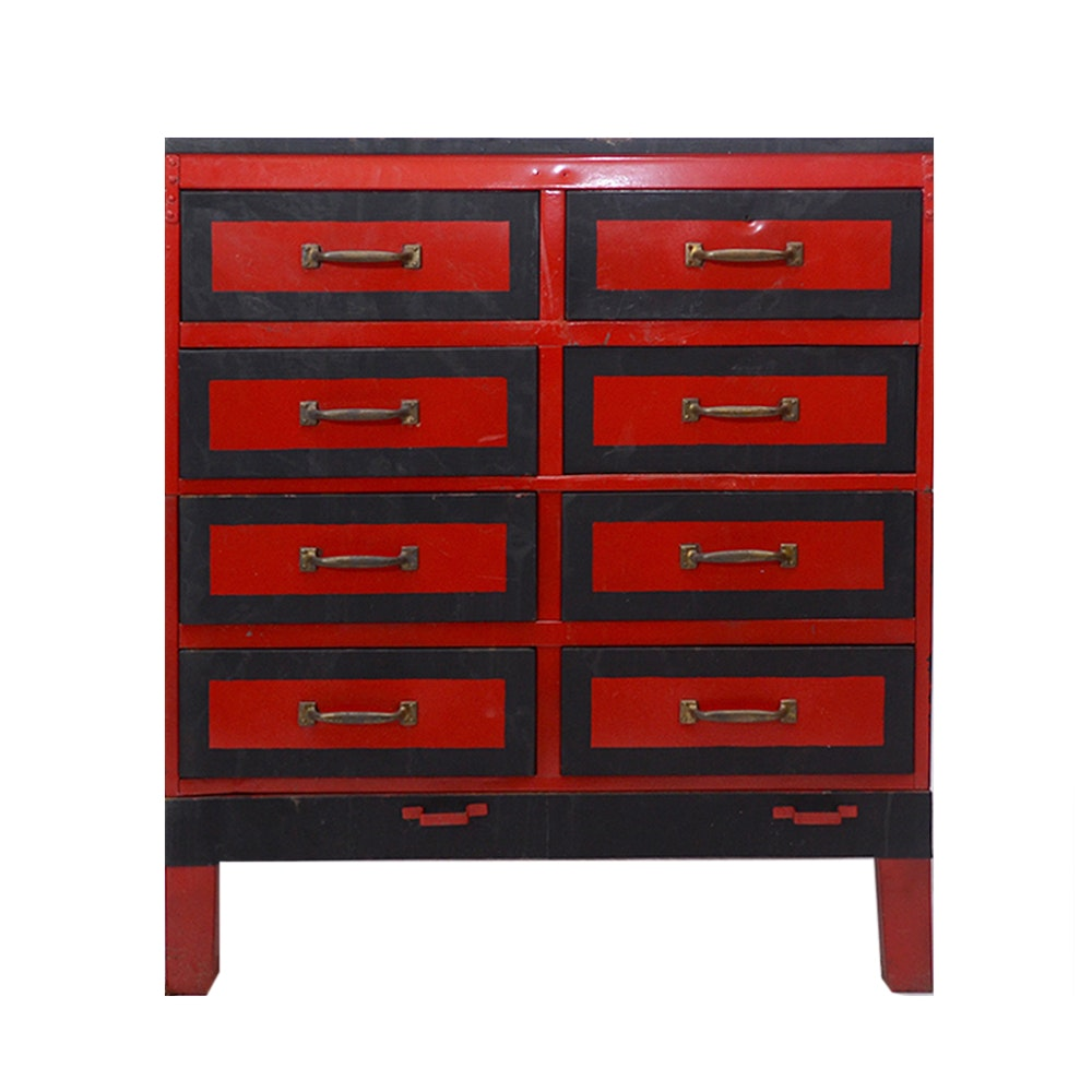 Vintage Black and Red Metal Chest of Drawers