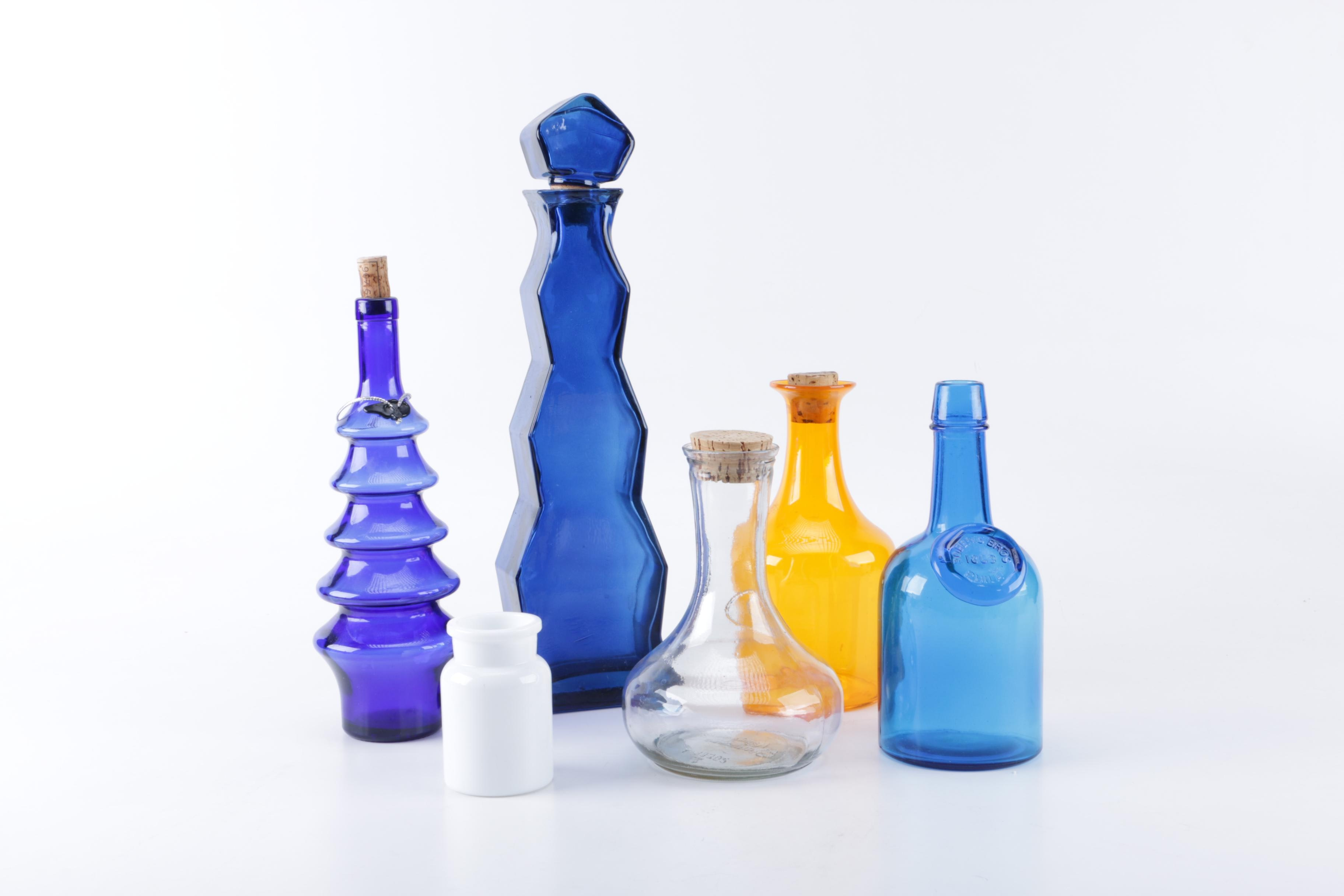 Assorted Glass Decanters and Bottles