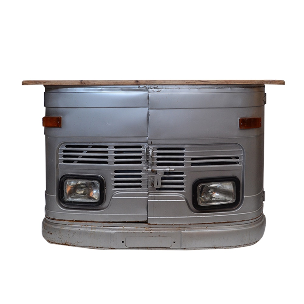 Repurposed Metal Cabinet with Wood Top