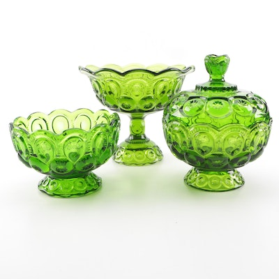 """Green """"Moon and Stars"""" Pressed Glass Candy Dishes"""