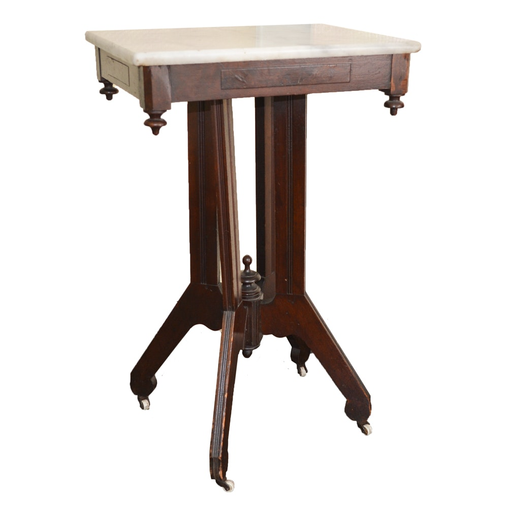 Victorian Eastlake Walnut Side Table with Marble Top