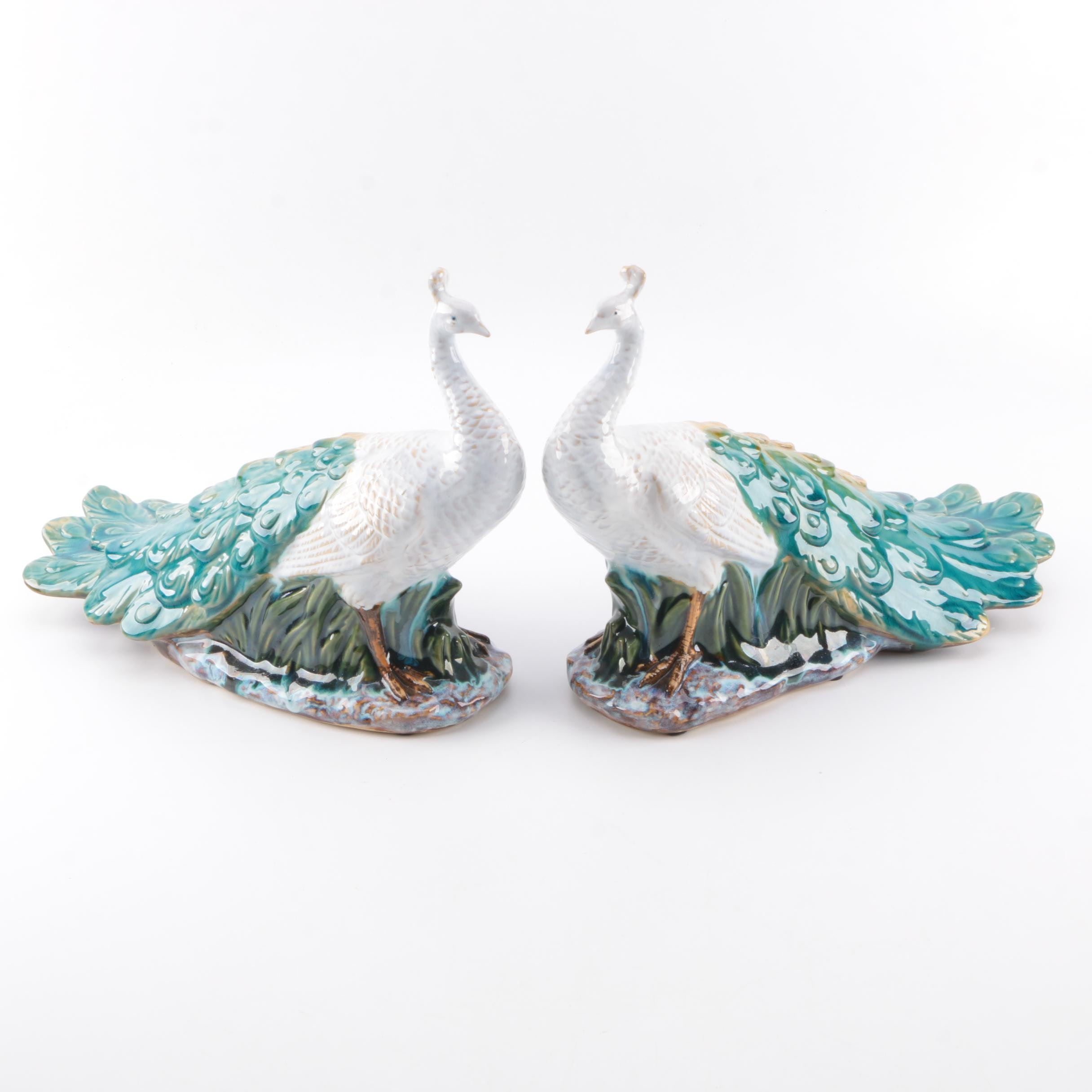Ceramic Peacock Figurine Pair