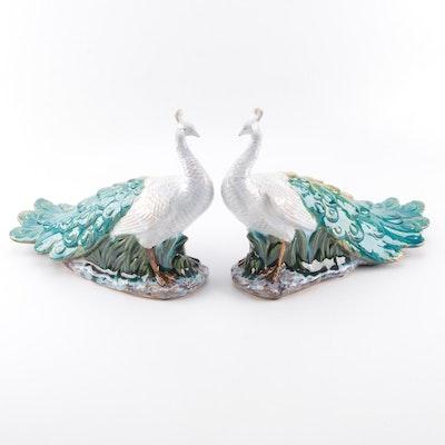 Ceramic Peacock Figurine Pair