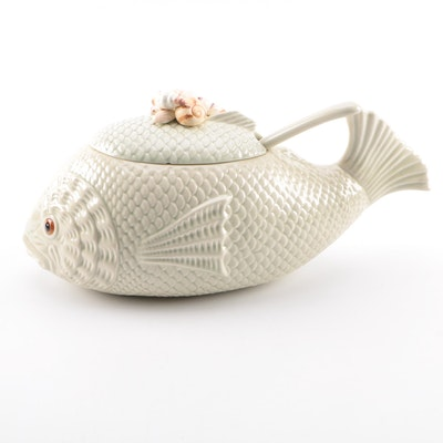 Ceramic Fish Soup Tureen and Ladle