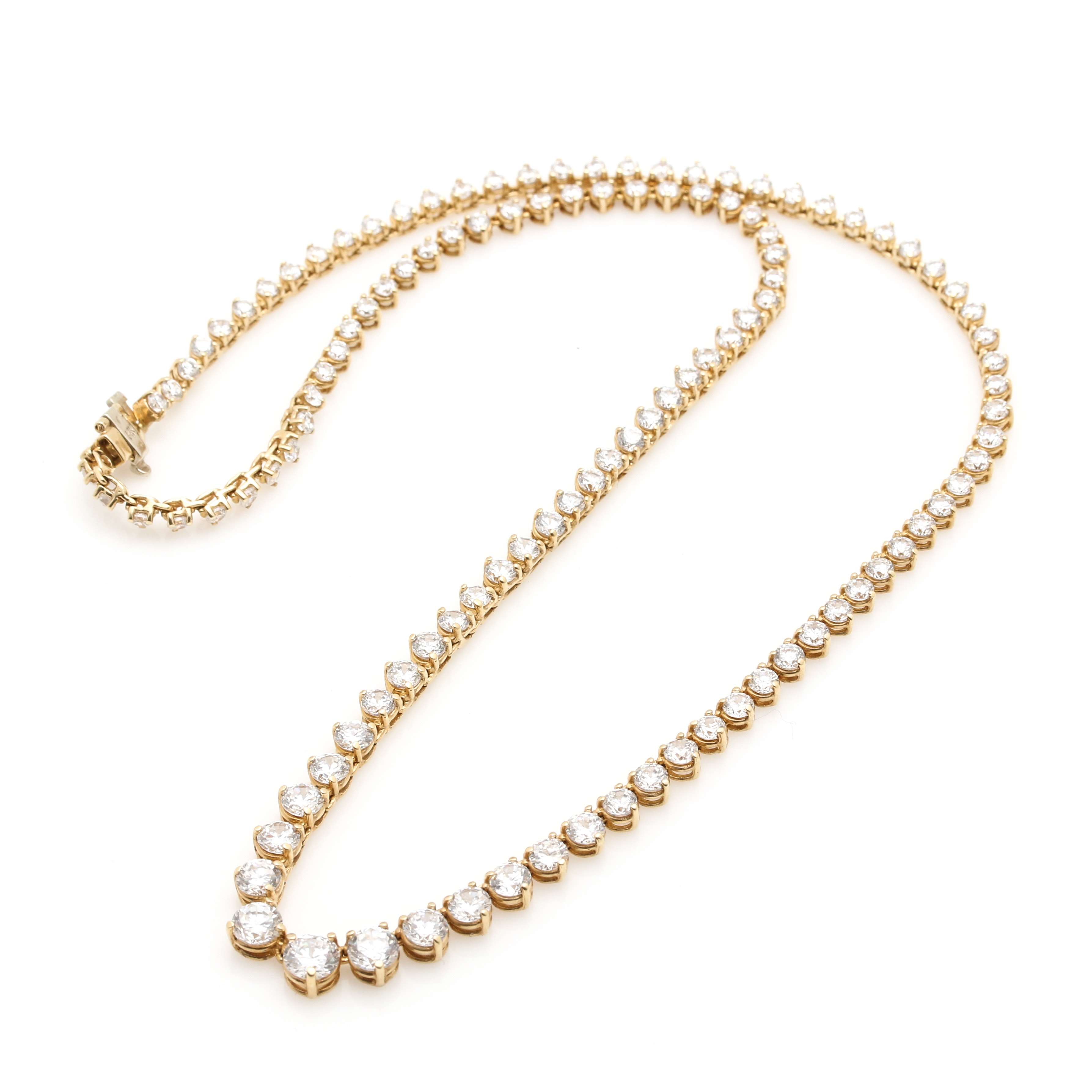 14K Yellow Gold Cubic Zirconia Graduated Necklace