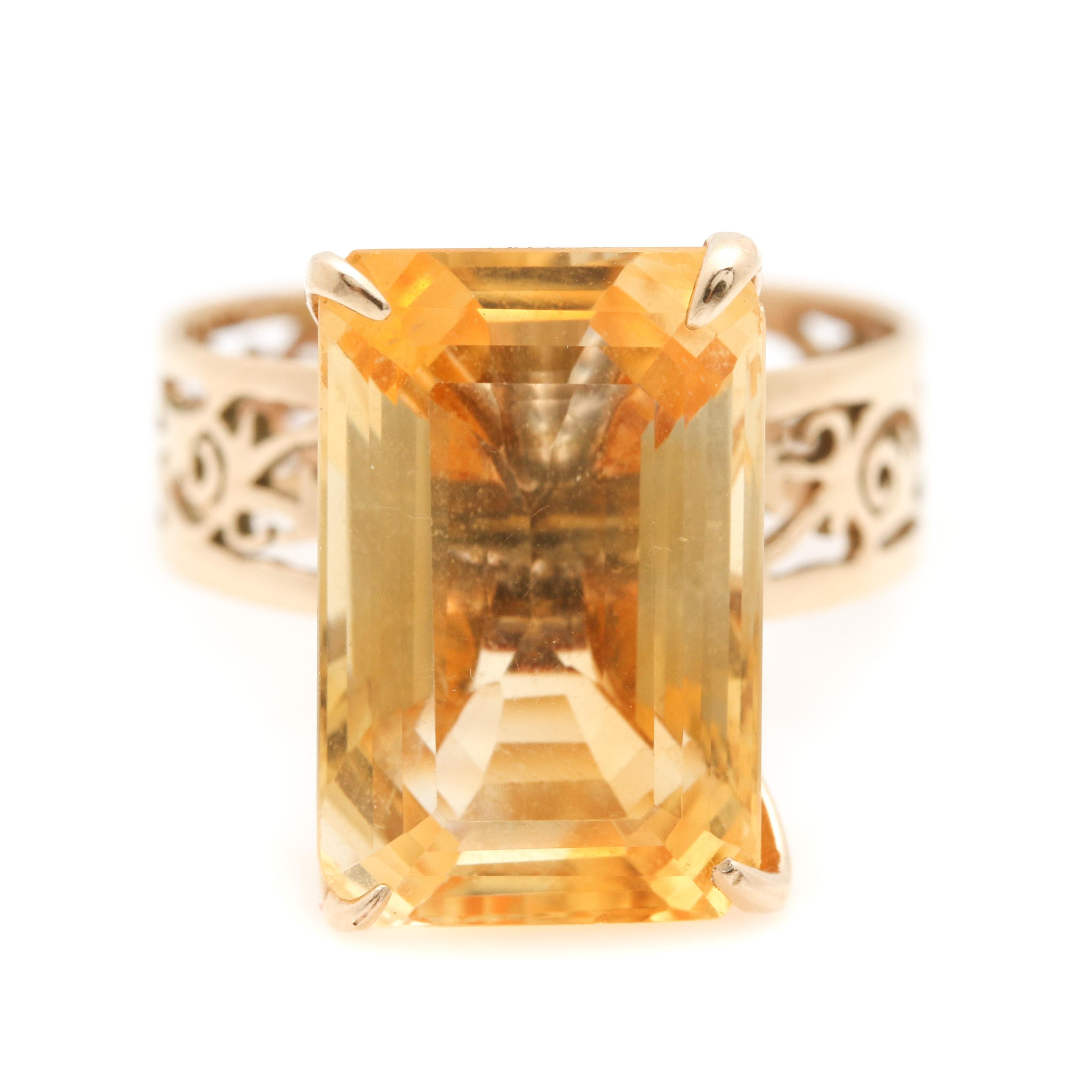 14K Yellow Gold 7.93 CT Citrine Ring