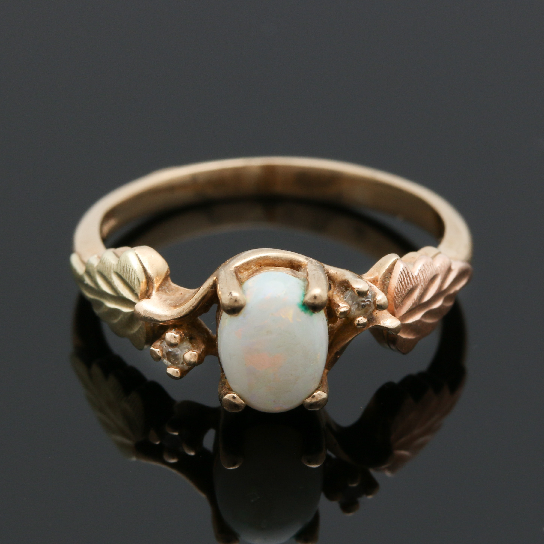 10K Yellow Gold Opal and Diamond Foliate Ring