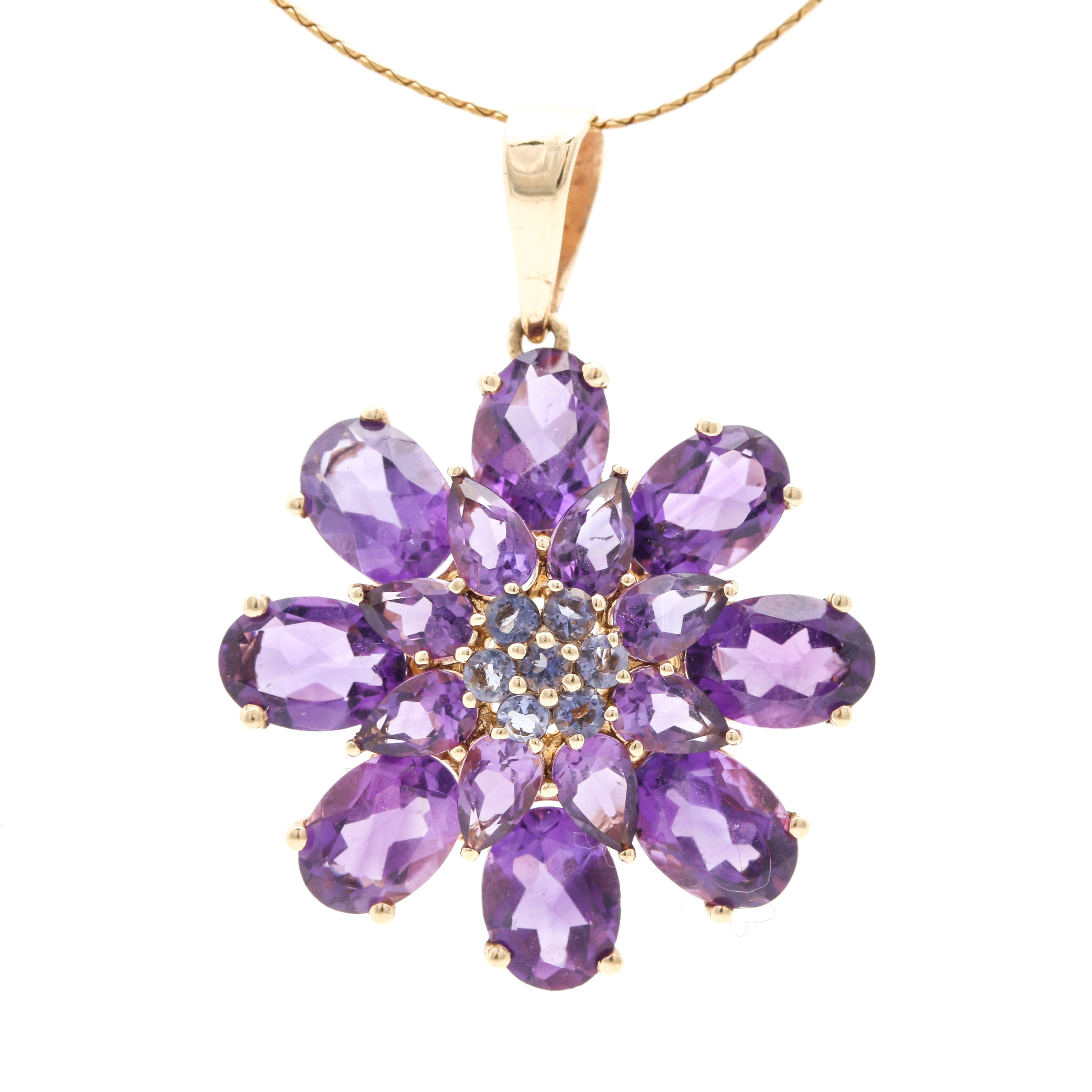 10K and 14K Yellow Gold Amethyst and Iolite Pendant Necklace