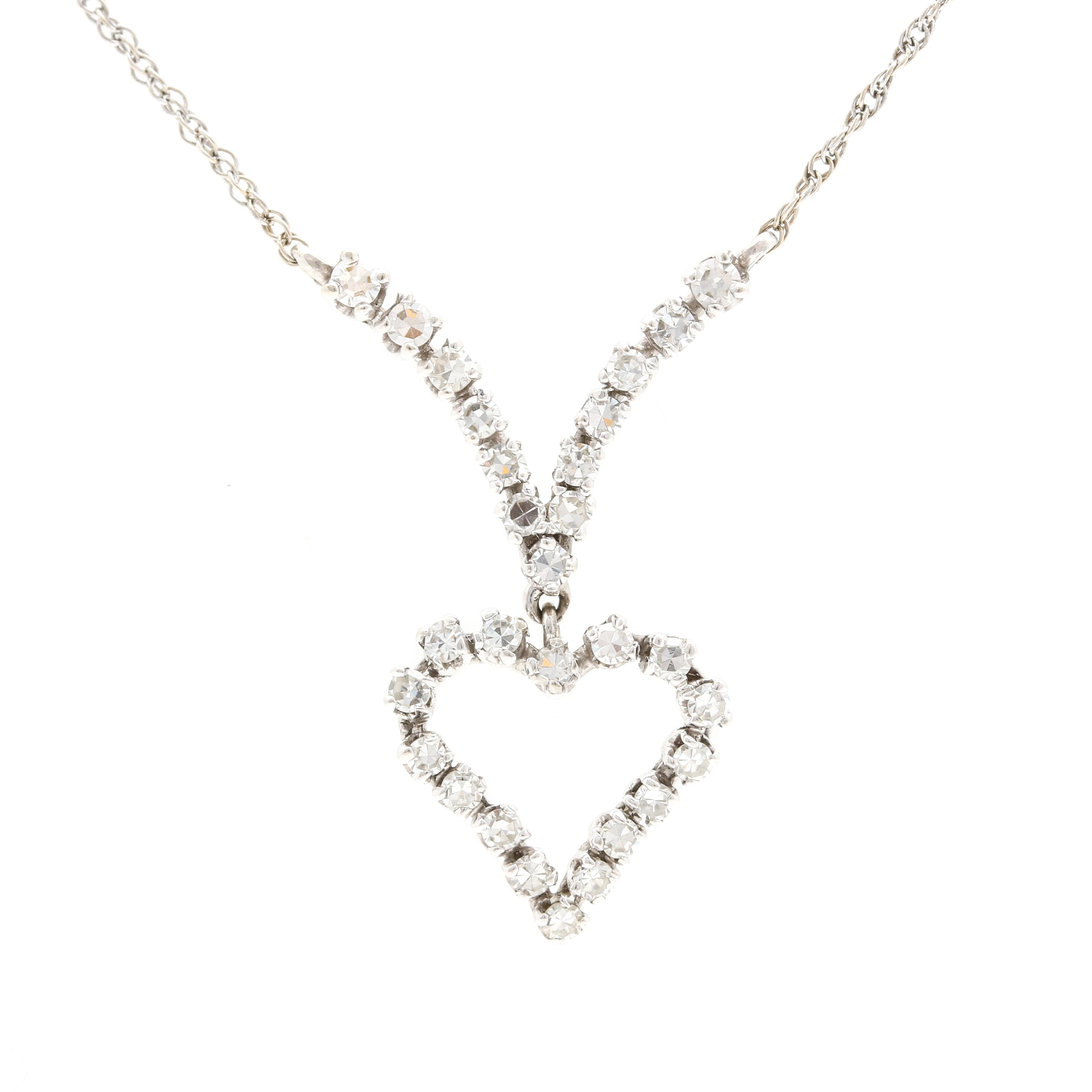 14K and 10K White Gold Diamond Necklace