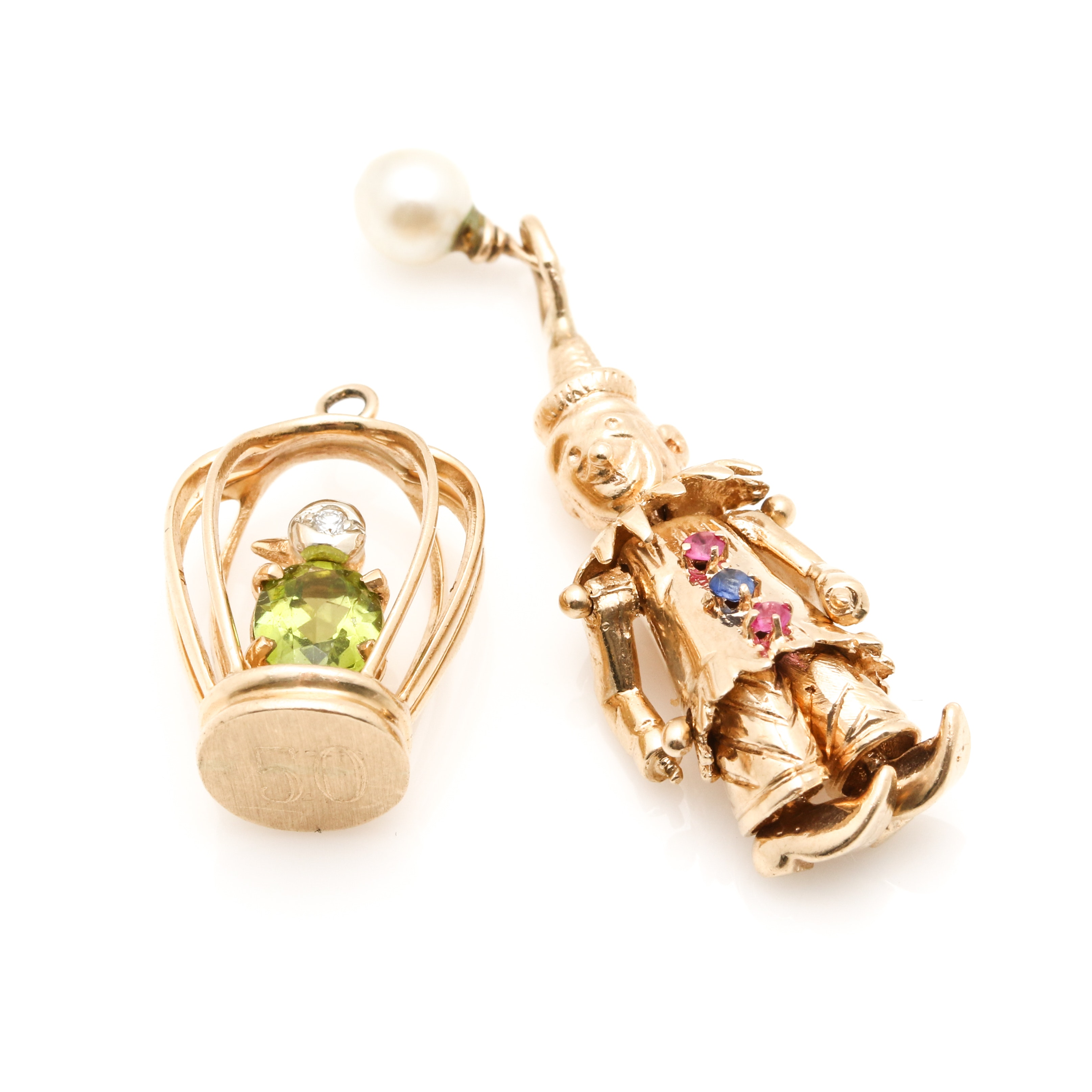 14K Yellow Gold Diamond and Gemstone Figural Charms