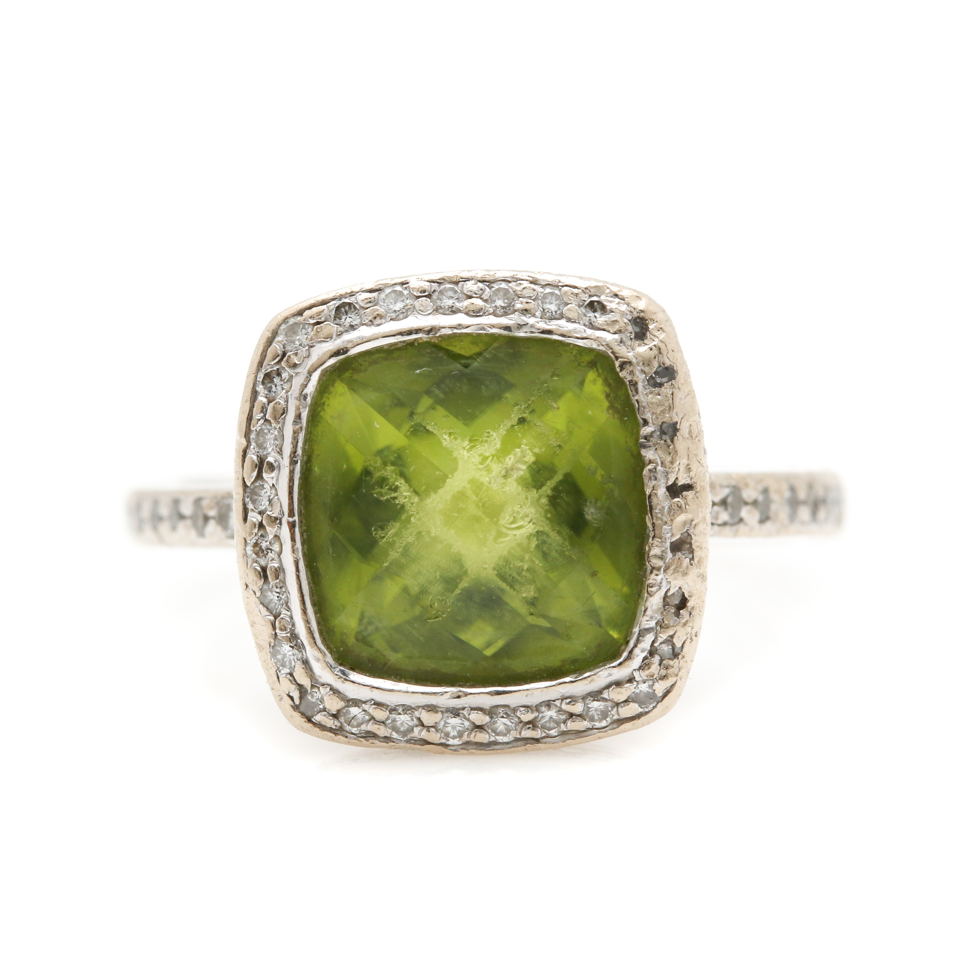 18K White Gold Peridot and Diamond Ring