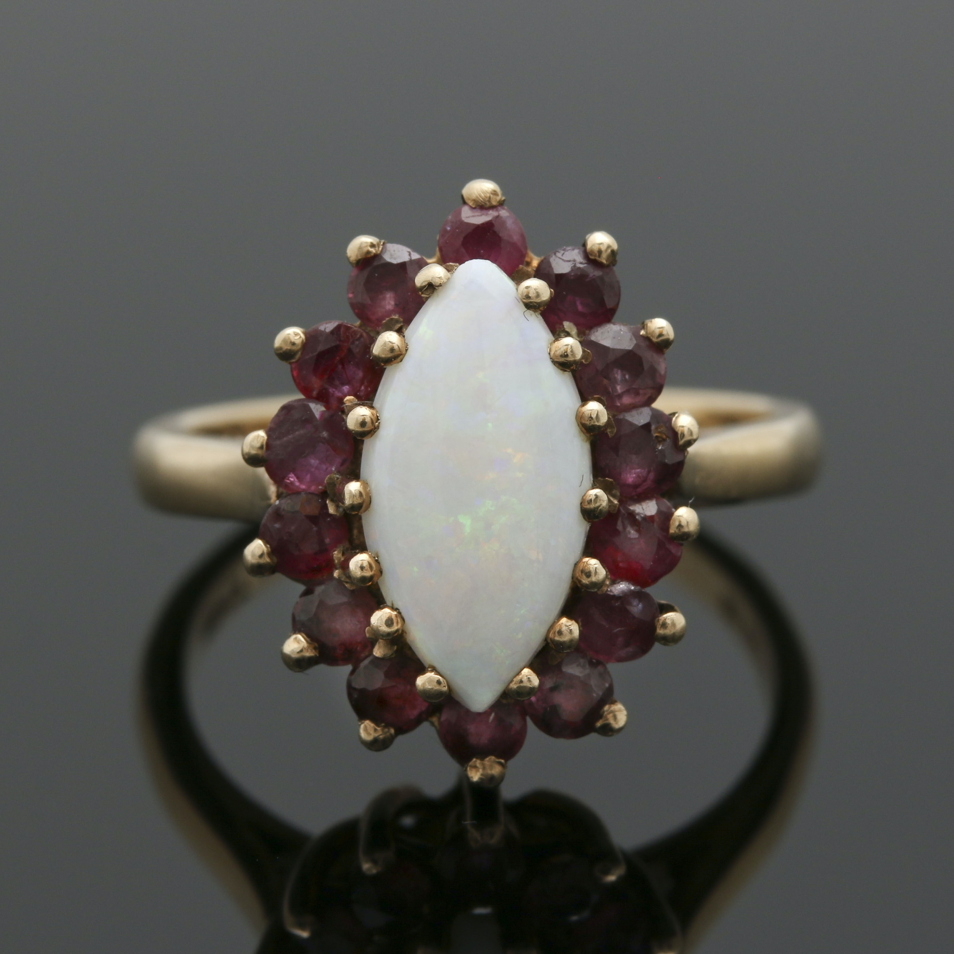 9K Yellow Gold Opal and Ruby Ring
