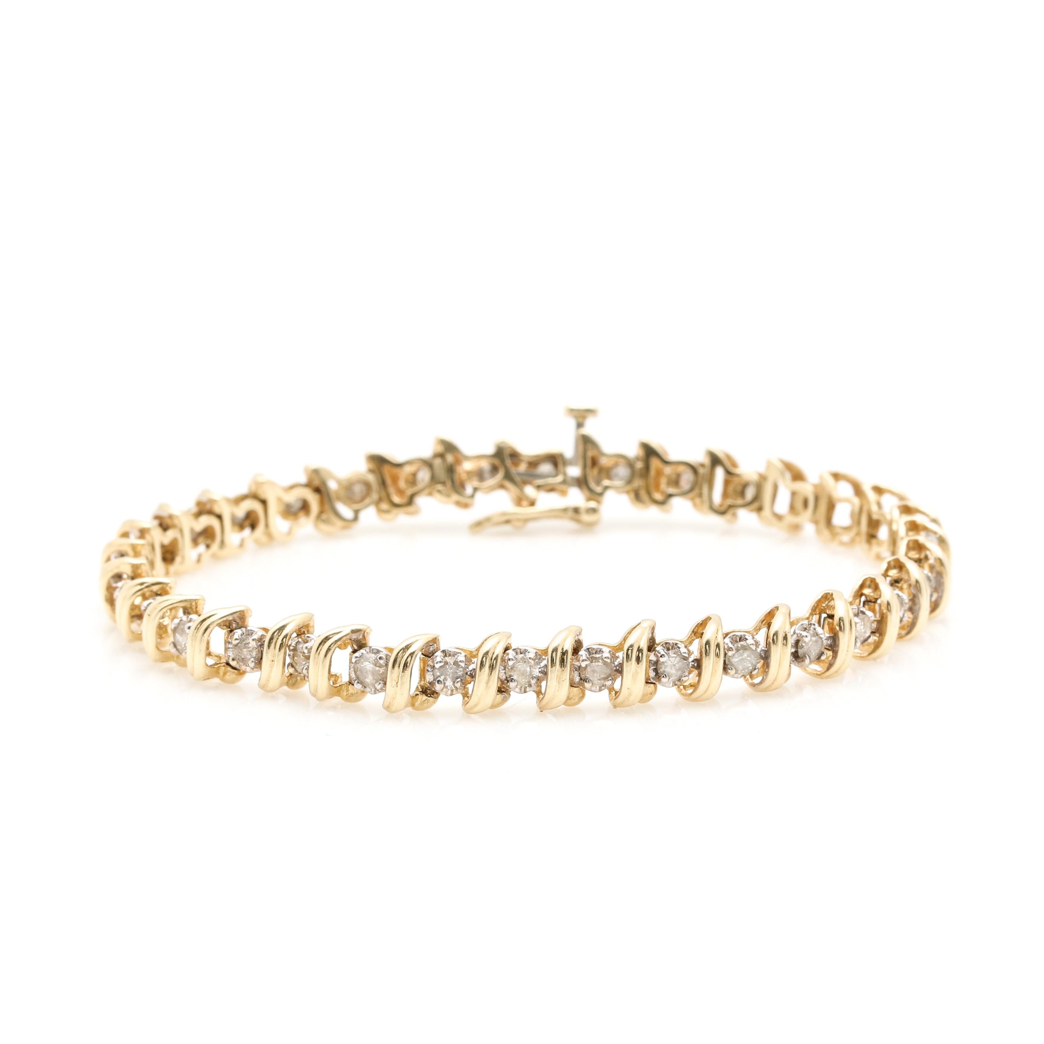 14K Yellow Gold 1.49 CTW Diamond Tennis Bracelet