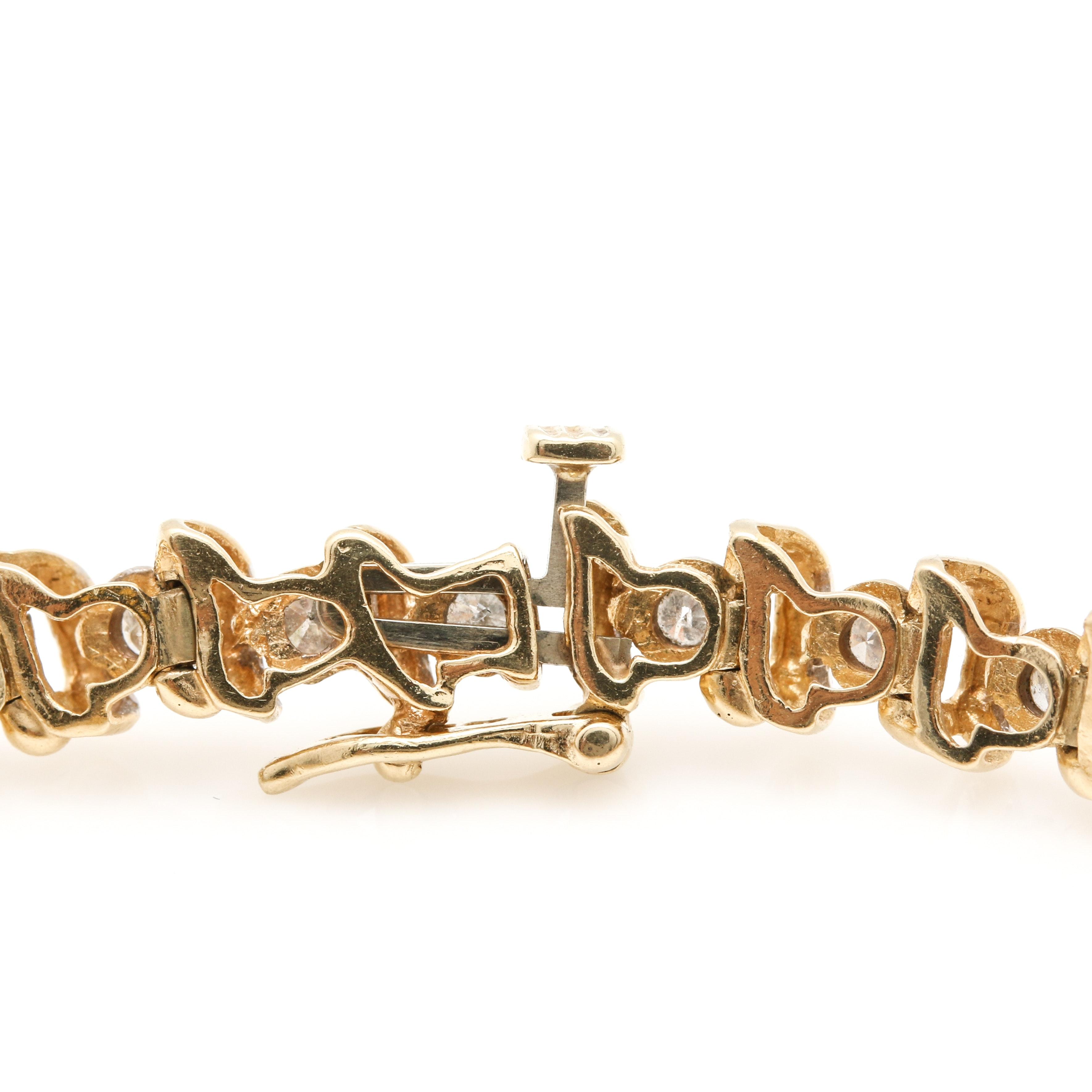 14k Yellow Gold 1 49 Ctw Diamond Tennis Bracelet Ebth
