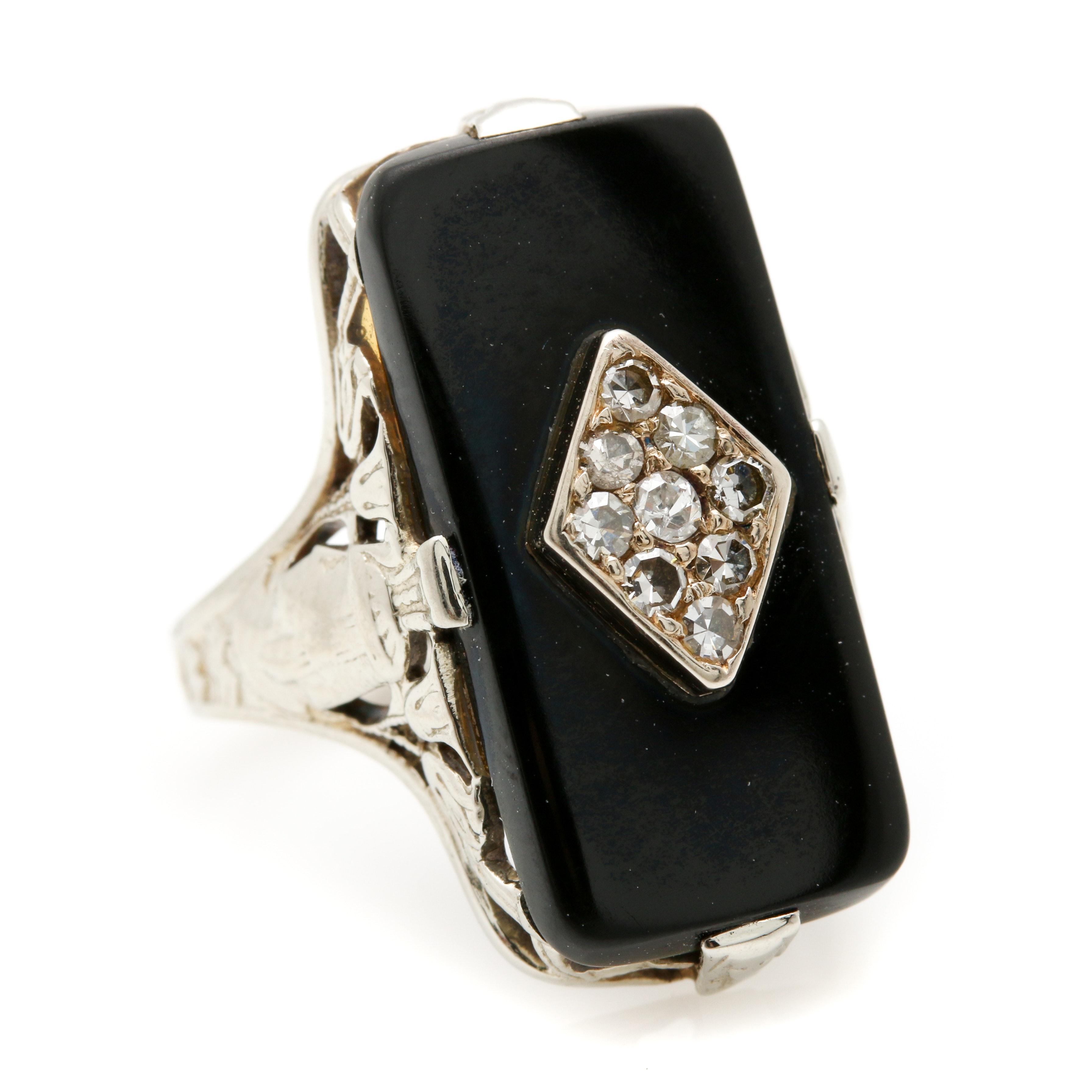 Late Edwardian 14K White Gold Black Onyx and Diamond Ring