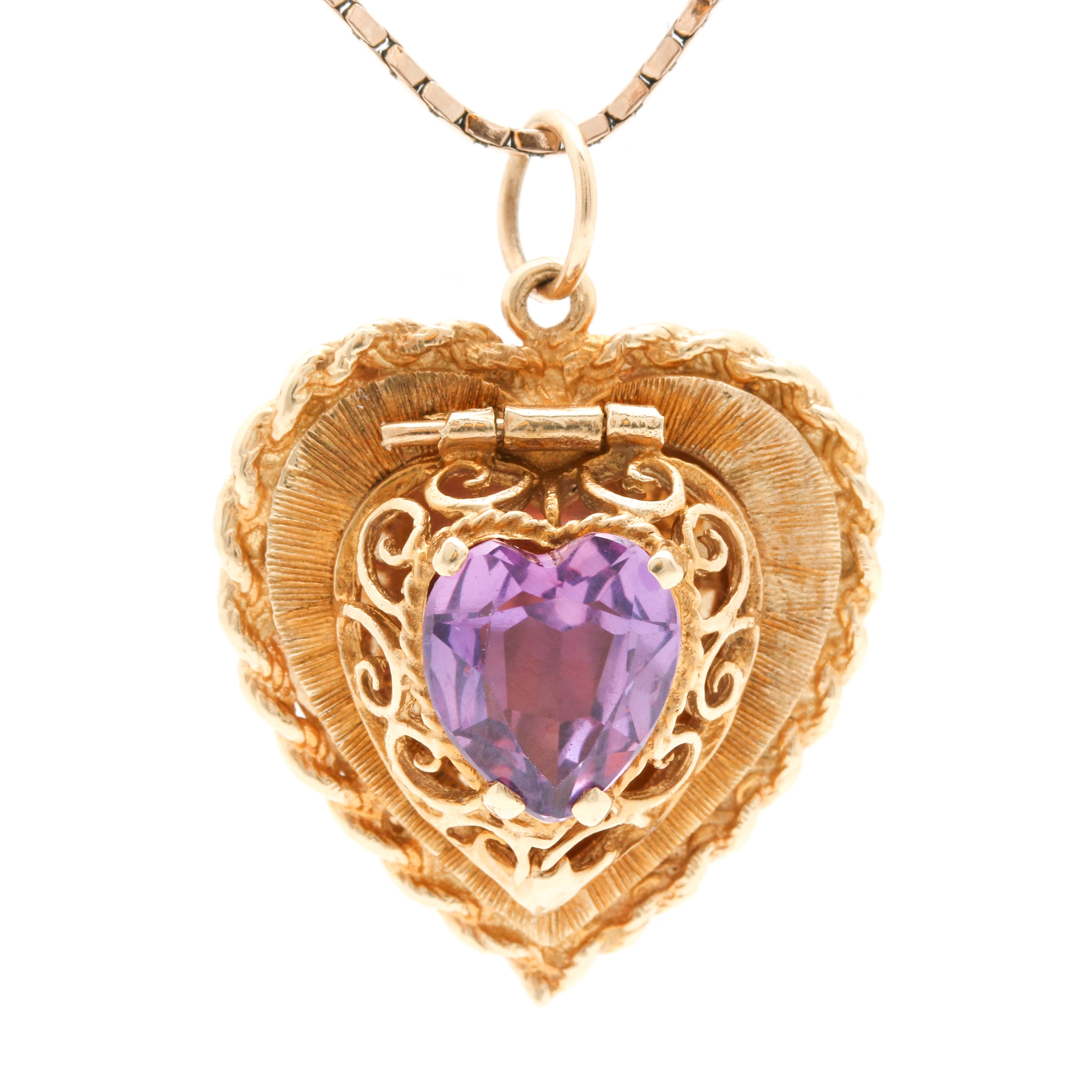 14K Yellow Gold Pink Sapphire Heart Locket Pendant Necklace